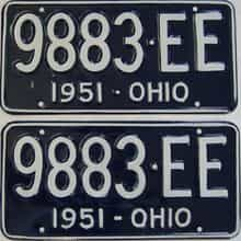 1951 Ohio (Repainted) license plate for sale