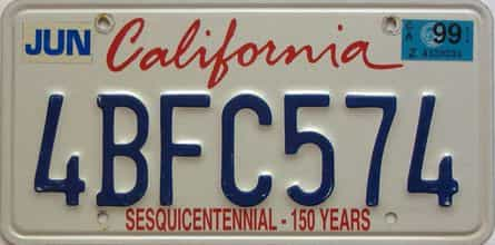 1999 California  (Natural Single) license plate for sale