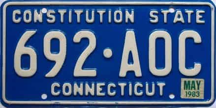 1983 Connecticut  (Single) license plate for sale