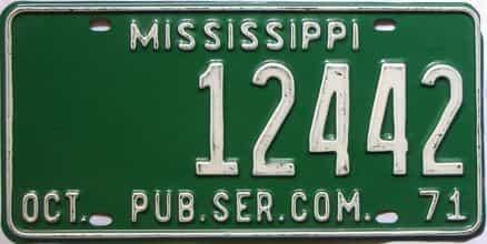 1971 Mississippi  (Non Passenger) license plate for sale