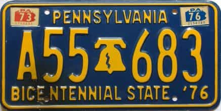 1976 Pennsylvania license plate for sale