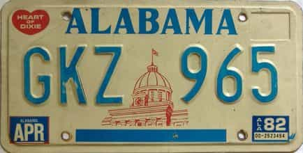 1982 Alabama license plate for sale