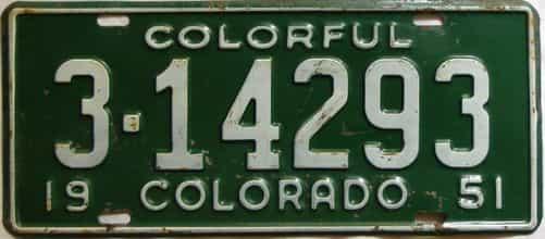 1951 Colorado  (Single) license plate for sale