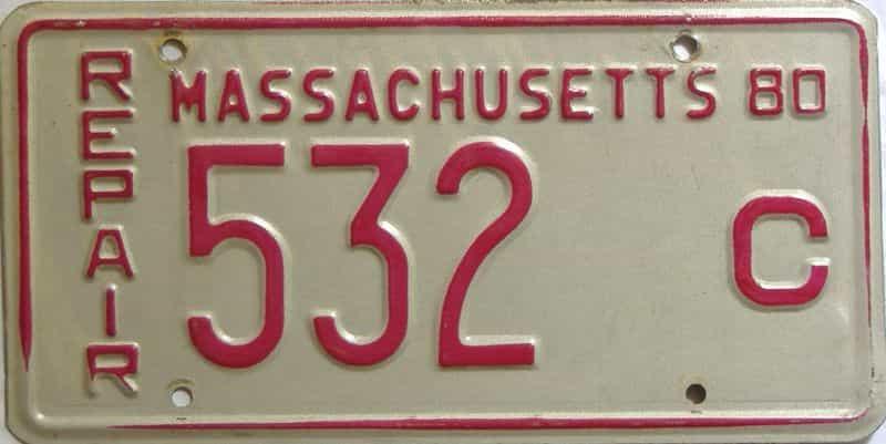 1980 Massachusetts license plate for sale