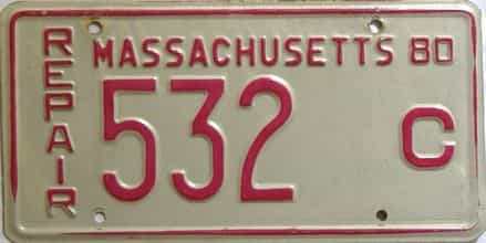 1980 Massachusetts license plate for sale