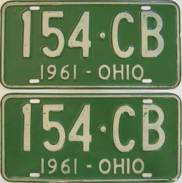 1961 OH (Pair) license plate for sale