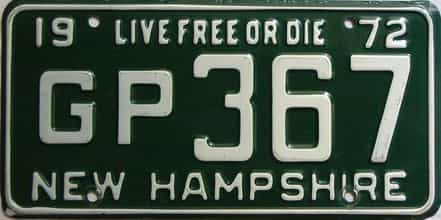 1972 New Hampshire  (Single) license plate for sale