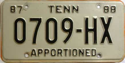 1987 Tennessee  (Non Passenger) license plate for sale