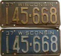1937 Wisconsin  (Pair) license plate for sale