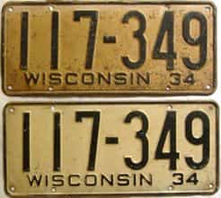 1934 Wisconsin  (Pair) license plate for sale