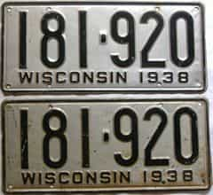 1938 Wisconsin  (Pair) license plate for sale