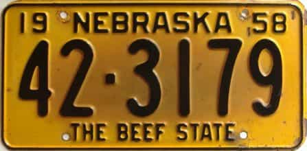 1958 Nebraska  (Single) license plate for sale