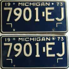1973 Michigan  (Pair) license plate for sale