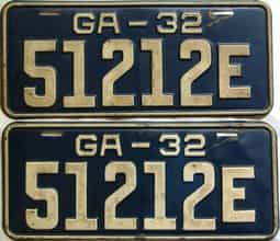 YOM 1932 Georgia  (Pair) license plate for sale