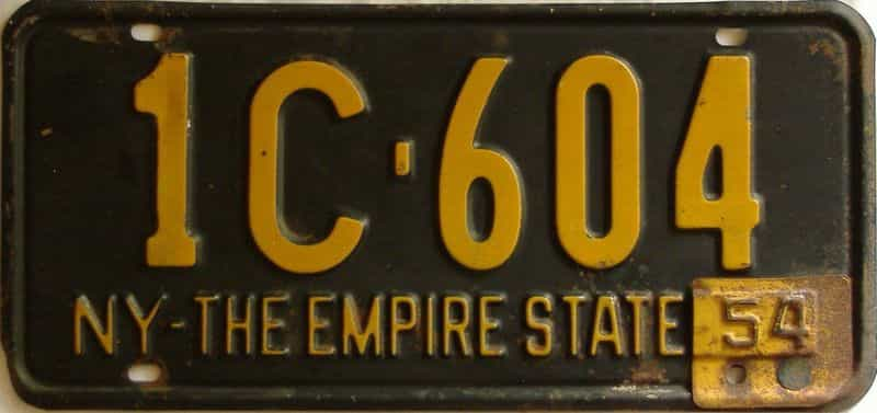 1954 New York license plate for sale