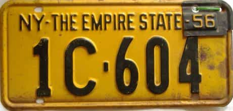 1956 New York  (Single) license plate for sale