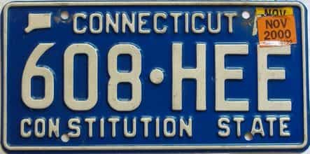 2000 Connecticut  (Single) license plate for sale