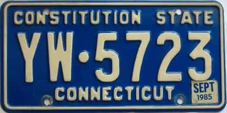 1985 Connecticut  (Single) license plate for sale