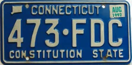 1992 Connecticut  (Single) license plate for sale