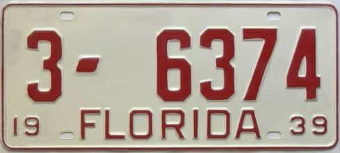 1939 Florida  (Very Nice Older Repaint) license plate for sale