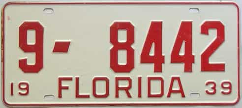 1939 Florida license plate for sale