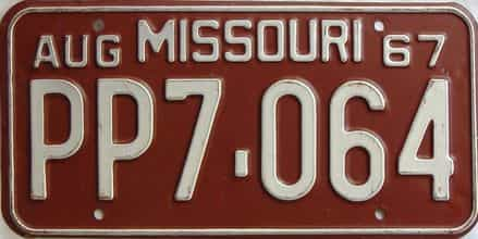 1967 Missouri license plate for sale