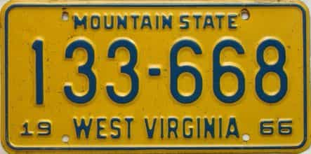 1966 West Virginia license plate for sale