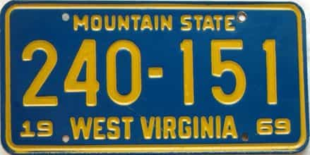 1969 West Virginia license plate for sale