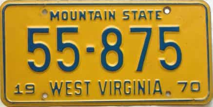 1970 West Virginia license plate for sale