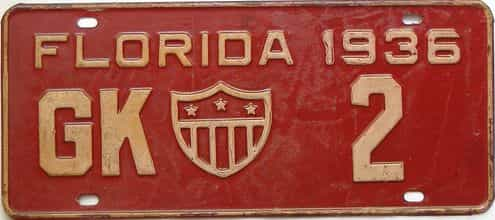 1936 Florida  (Rare) license plate for sale