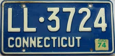 1974 Connecticut  (Single) license plate for sale