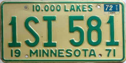 1972 Minnesota  (Single) license plate for sale