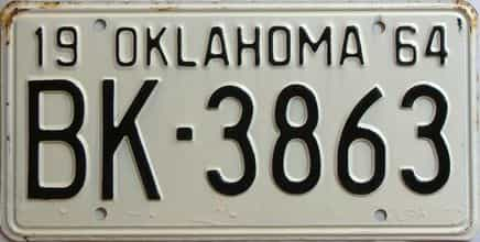 1964 Oklahoma license plate for sale