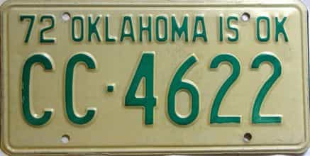 1972 Oklahoma license plate for sale