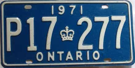 1971 Ontario  (Single) license plate for sale