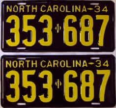 RESTORED 1934 North Carolina  (Pair) license plate for sale