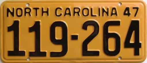 RESTORED 1947 North Carolina license plate for sale