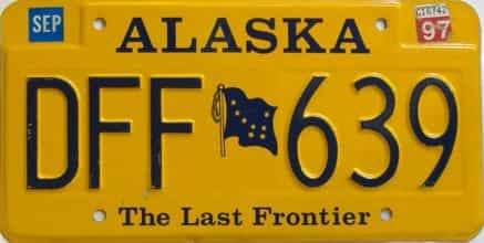 1997 Alaska  (Single) license plate for sale