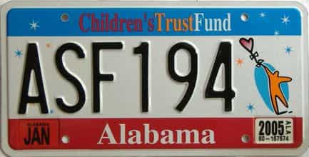 2005 Alabama license plate for sale
