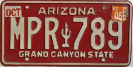 2005 Arizona license plate for sale