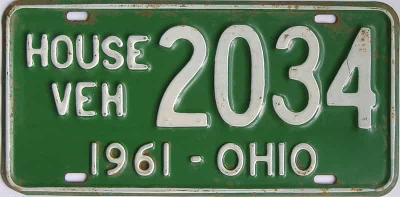 1961 OH (Non Pass) license plate for sale