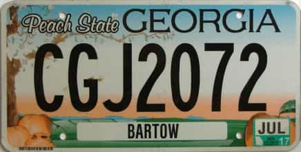 2017 Georgia Counties (Bartow) license plate for sale