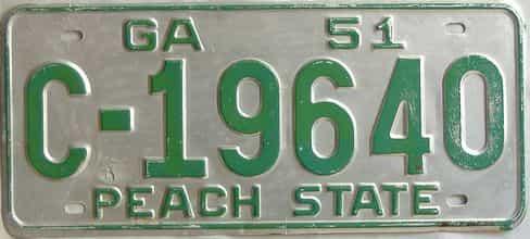 YOM 1951 Georgia license plate for sale