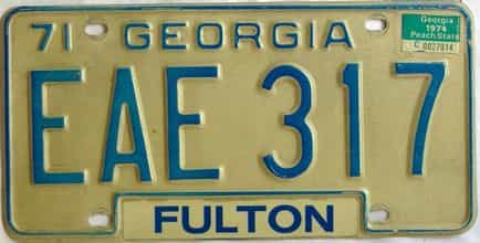 YOM 1974 Georgia YOM 1971 - 1989 license plate for sale