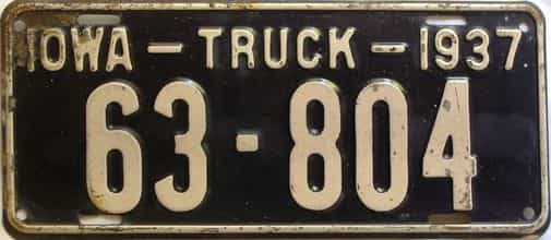 1937 Iowa  (Truck) license plate for sale