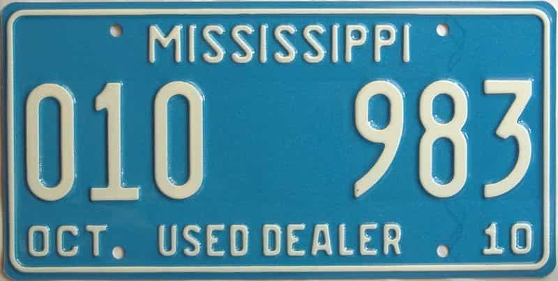 2010 Mississippi  (Dealer) license plate for sale