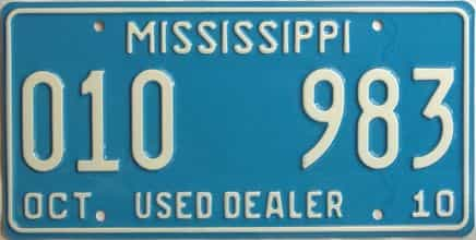 2010 Mississippi  (Dealer) license plate for sale