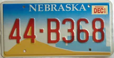 2000 Nebraska  (Single) license plate for sale