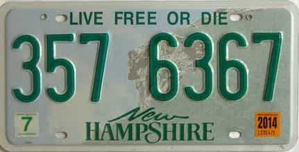 2014 New Hampshire  (Single) license plate for sale
