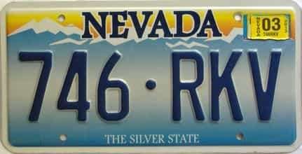 2003 Nevada  (Single) license plate for sale